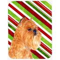 The Holiday Aisle® The Holiday Aisle Brussels Griffon Candy Cane Holiday Christmas Orange Glass Cutting Board Glass   Wayfair THLA3818 39991406