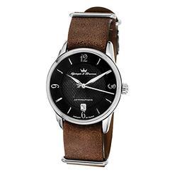 YONGER&BRESSON Automatique Homme Date Standard Automatique Montre avec Bracelet en Cuir YBH 1012-SNA04