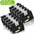 Fimax Rubans Cassettes pour Étiqueteuse Compatible Brother 12mm TZe-231 TZe231 TZ231 pour Brother P-touch H107 1000 1230PC H101TB H100LB (Pack de 10, Noir sur Blanc)