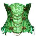 Bslingerie® Gothic Punk Baleines Acier Simili Cuir Underbust Corset Serre Taille (L - EU 38-40, Vert)