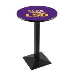"""LSU Tigers 42"""" Square Base Black Pub Table"""