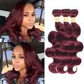 "WOME Brazilian 100% Unprocessed Human Hair Bundles Body Wave 3 Bundles Double Weft 8A Hair Bundles Burgundy Red Color(Color 99J,12""14""16"")"