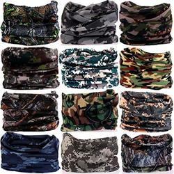 DEMIL 6PCS/8PCS/12PCS Seamless Headband camo Bandanas Headwear for Men&Women Neck warmer Scarf 16-in-1 Multifunctional for Neck Gaiter (12pcs-5camouflage1)