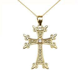 Collier Femme Pendentif 9 ct Or Jaune Élégant Arménien Croix Diamant (Livré avec une 45cm Chaîne)