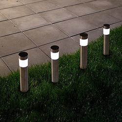 Solar Outdoor LED Light, Battery Operated Stainless Steel Path Walkway Lights for Landscape