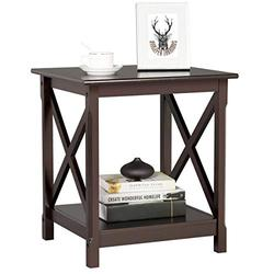 Topeakmart End Table in X-Design, Wood Sofa Side Table with Storage Shelf for Living Room, Espresso, Dark Coffee
