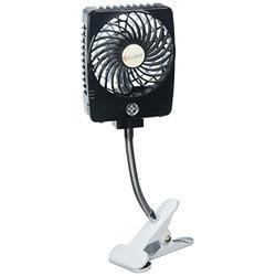 Happy-top Battery Operated Clip on Fan, 3 Speeds Clip Handheld Desktop Fan USB Rechargeable Stroller Fan Portable Personal Fan 360 Rotation for Baby Stroller Home Office Outdoor Travel (Black)