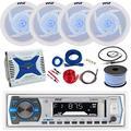 21-29' Pontoon Boat: Pyle Bluetooth Marine Receiver, 4 X Pyle 6.5'' Waterproof White Speakers w/LED, Pyle 4 Channel 1000 Watt Marine Amplifier, Amp Install Kit, 18 Gauge 50 FT Speaker Wire, Antenna