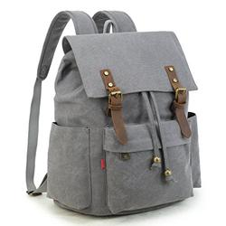 Crest Design Vintage Canvas Laptop Backpack School Bag Hiking Travel Rucksack 25L (Grey)
