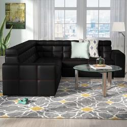"""Latitude Run® Gaitani 106.9"""" Wide Faux Leather Sleeper Corner Sectional Faux Leather/Leather in Black, Size 33.4 H x 106.9 W x 94.4 D in 