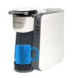 Mixpresso Single Cup Coffee Maker| Coffee Machine Compatible With Most Single Cups Including 1.0 & 2.0 Single Cup Pods, Quick Brew Technology (White/Gray Combination)