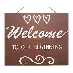 JennyGems Welcome To Our Beginning Sign   Wedding Sign   House Warming Signs   Wooden Home Signs   Housewarming Gift   Farmhouse Decor Decorations   Wedding Welcome Sign   Housewarming Decorations