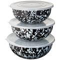 Enamelware - Black Swirl Pattern - Mixing Bowls