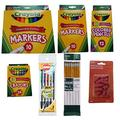 Back to School Basics (7 Items): Crayola fine and broad markers, colored pencils, crayons, Bic Mechanical #2 lead 0.7 mm pencils, Ticonderoga Dixon #2 Pencils and Eraser Caps