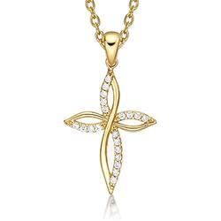 Diamond Treats Collier Pendentif Croix en Or, zircons cubiques. Collier Femme en Or Jaune de 9 carats avec Pendentif Croix au Design Unique et chaîne en Or 46 cm. Le pour Elle.