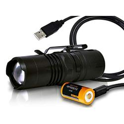 Orion Zoom 1 300 Lumen Mini Focusable LED Tactical Flashlight with USB rechargeable 16340 Battery & LumenTac USB Cable