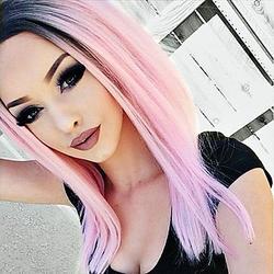 MZP Femme Perruque Synthétique Lace Front Mi Longue Raide Rose Ligne de Cheveux Naturelle Cheveux Colorés Racines foncées Au Milieu Perruque , pink