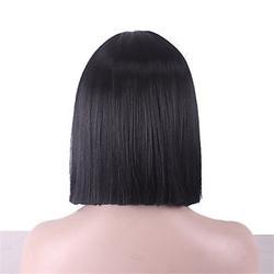 MZP Femme Perruque Synthétique Sans bonnet Mi Longue Raide Crépu Noir Coupe Carré Avec Frange Perruque de Cosplay Perruque Déguisement , black