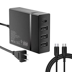 USB C Charger, Nekteck 4-Port 72W USB Wall Charger with Type-C 60W Power Delivery PD Charger Station Compatible with iPhone 12 Pro Max, MacBook Pro, iPad Pro, Dell XPS, Surface Go, Pixel(Black)