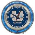 """Utah State Aggies 15"""" Neon Clock"""