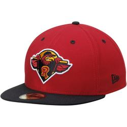 Men's New Era Red/Black Rochester Red Wings Authentic Road 59FIFTY Fitted Hat
