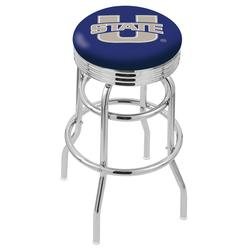 """Utah State Aggies 30"""" Chrome Double Ring Swivel Bar Stool with 2.5"""" Ribbed"""