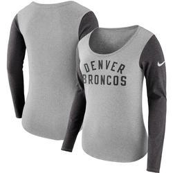 Women's Nike Heathered Gray Denver Broncos Modern Arch Tri-Blend Long Sleeve T-Shirt