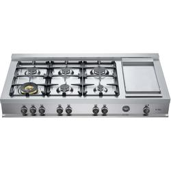 Bertazzoni CB48M6G00 48 Inch Wide Built-In Gas Range Top with 18000 BTU Dual Zone Burner and Griddle