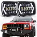 "7x6"" inch Halo LED Headlights, OVOTOR 5x7 inch Square LED Headlamp with Arrow Angel Eyes DRL Turn Signal Light Replaces H6054 H5054 H6054LL 69822 Fit Trucks Wrangler XJ YJ Sedans GMC"