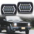 ROCCS 7x6 6054 LED Halo Headlights, 2PCS Square 5x7 LED Headlights with Arrow Angel Eyes DRL Turn Signal H4 Plug for J e e p Wrangler YJ Cherokee XJ Trucks Chevy S10 H6014 5054 6052 6053 Sedans
