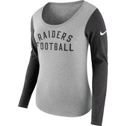 Women's Nike Heathered Gray Las Vegas Raiders Modern Arch Tri-Blend Long Sleeve T-Shirt