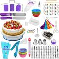 Cake Decorating Supplies Kit VIPorama 60pcs Set 1 Cake Turntable Stand 2 Icing Spatulas 24 Numbered Icing Tips 1 Cake Leveler 21 Pastry Bags 1 Cake Flower Nail and Lifter 1 Cake Pen 3 Scrapers