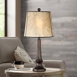 Naomi Rustic Table Lamp Aged Bronze Mica Drum Shade for Living Room Family Bedroom Bedside Nightstand Office - Franklin Iron Works