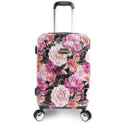 """BEBE Women's Marie 21"""" Hardside Carry-on Spinner Luggage, Black Floral Print, One Size"""