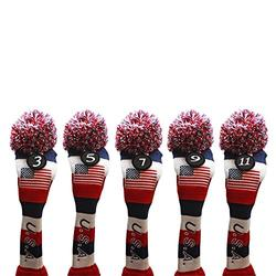 USA Majek Golf 3 5 7 9 11 Fairway Woods Headcovers Pom Pom Knit Limited Edition Vintage Classic Traditional Flag Stars Red White Blue Stripes Retro Head Cover Fits 260cc Woods