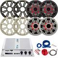 """4X Kicker 6.5"""" OEM Replacement 150W Marine Coaxial 2-Way Multicolor LED Speakers (White and Charcoal Grilles) Bundle Combo with Pyle 4-Channel Bluetooth Amplifier, Complete Amp Wiring Kit"""
