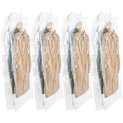 Hanging Vacuum Storage Bag Closet Organizers,Space Saver Bag Hanging for Coats Storage ,Set of 4 Long Size(53x27.6x15 Inch) Space Saver Bags,DustProof Waterproof 80% Space Saving