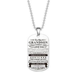 SHIYAO Stainless Steel Dog Tag Pendant Necklace To My Grandson Granddaughter Never Forget That I Love You From Grandma Grandpa Tag Pendant Necklace