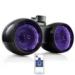 "Waterproof Marine Wakeboard Tower Speakers - 6.5"" Dual Subwoofer Speaker Set and 1.0"" Tweeters, LED Lights and 400 Watt Power - 2-Way Boat Audio System with Mounting Bracket - PLMRWB852LEB (Black)"