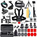 Black Pro Camera Accessory Kit Compatible with GoPro Hero9/Hero8/Hero7, GoPro Max, GoPro Fusion, Insta360, DJI Osmo Action, AKASO, APEMAN, Campark, SJCAM