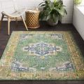 """Jesse Dark Green and Lime Updated Traditional Area Rug 7'10"""" x 10'3"""