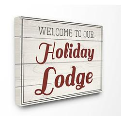 Stupell Industries Welcome To Our Holiday Lodge Vintage Canvas Wall Art, 30 x 40, Multi-Color