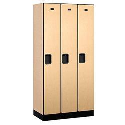 Salsbury Industries 1-Tier Designer Wood Locker with Three Wide Storage Units, 6-Feet High by 18-Inch Deep, Maple