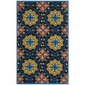 "Safavieh Four Seasons Collection FRS426A Hand-Hooked Floral Accent Rug, 2'4"" x 4', Black / Blue"
