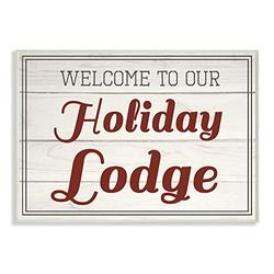 Stupell Industries Welcome To Our Holiday Lodge Vintage Wall Plaque, 10 x 15, Multi-Color