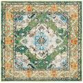 """Safavieh Monaco Collection MNC243F Boho Chic Medallion Distressed Non-Shedding Stain Resistant Living Room Bedroom Area Rug, 6'7"""" x 6'7"""" Square, Forest Green / Light Blue"""