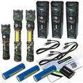 3 Pack Nebo Slyde King 500 Lumen USB rechargeable LED flashlight/Worklight CAMO 6754, rechargeable Li-ion battery with EdisonBright USB charger bundle