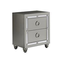 Global Furniture USA (1621 Night Stand Riley Nightstand, Silver