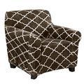 Modern Velvet Plush Arm Chair Slipcover. Strapless One Piece Stretch Chair Cover. Arm Chair Cover for Living Room. Magnolia Collection Slipcover. (Chair, Walnut Brown)