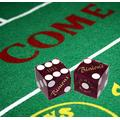 Cyber-Deals Wide Selection Craps Bundle Set: Las Vegas Style Felt Layout + Pair 19mm Authentic Nevada Casino Table-Played Dice (Binion's (Purple Polished))